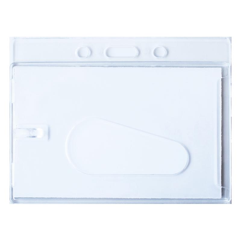 Horizontal Hard Plastic Badge Holder with Slot - Back Side