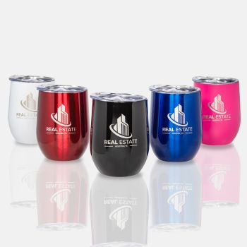 12 Oz. Laser Engraved Stainless Steel Wine Tumblers