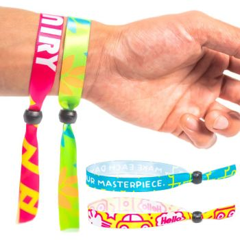 Fluorescent Neon Full Color Cloth Wristbands